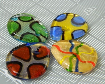 4 Funky Glass Pendant Bead - Assortment of Glass Pendants, You Get 4 Random One Per Order