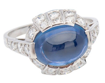 No Heat Ceylon Sapphire Diamond Platinum Ring Vintage 1950's
