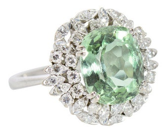 14k Yellow Gold Ring - Mint Green Beryl & Diamond