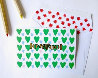 Handprinted greeting card//Lovefool//green hearts