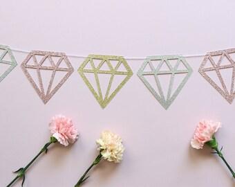 Diamond Glitter Banner - Bachelorette Party Decor, Bride To Be, Engagement Party, Bridal Shower Decor, Stagette Party, Wedding Banner