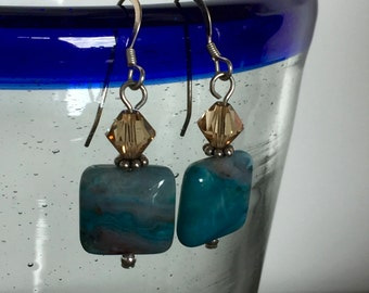 Earthy Blue Stone Dangle Earrings