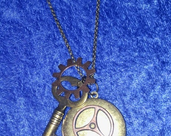 Faux pocket watch locket necklace