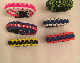 Team Colors, School Colors and Breast Cancer Awareness Paracord Bracelets
