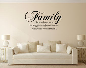 Family, like branches on a tree, our branches may grow in different directioins but our roots remain the same vinyle wall decal