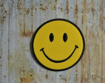Yellow Smiley Face Iron On Sew On Patch Transfer