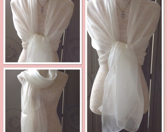 Organza White Sheen Wrap Shawl Weddings Races Proms Season Look Gift Idea