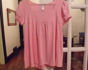 Sweet Pink Smock with Puffy Short Sleeves
