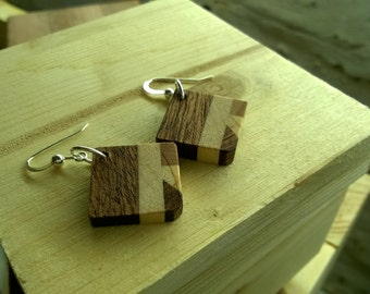 Wood and silver Earrings