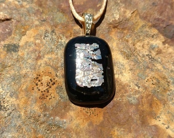 Dichroic Fused Glass Pendant, Black with Shimmering orange-gold, Handmade Necklace