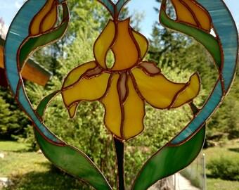 Stained Glass Heart Surrounding Yellow Iris.  Handmade