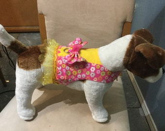 Pink and yellow flowers dog harness vest
