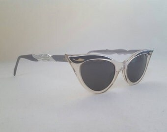 Vintage Gray/Light Purple 1960s NOS Deadstock B & L Cateye Sunglasses Shades Eyeglasses Eyewear Frames Jeweled Gray Lenses Pinup Rockabilly