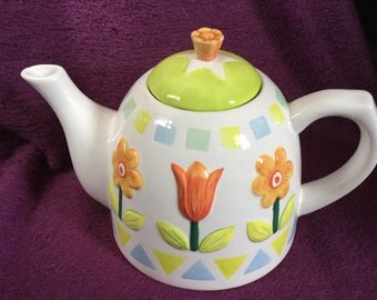 Spring flowers ceramic teapot