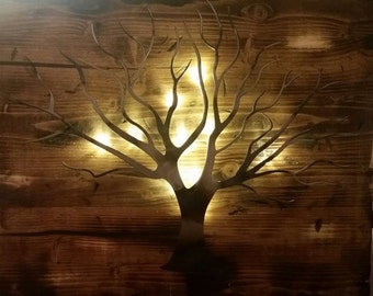 LED backlit tree of life