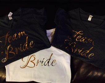 6 Team Bride T-Shirts - Bridal Shower, Stag N Doe