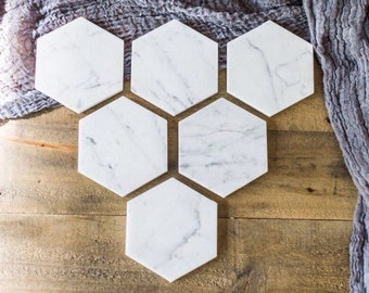 SALE // Six Marble Coasters // Hexagon Marble Coasters // Set of 6 //geometric coasters // geometric wedding favors
