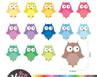 30 Colors Owls Clipart - Instant Download