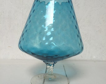 Vintage large blue brandy glass style vase 13 inch tall 1960