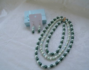 """Swarovski® Green and White Pearls Necklace-Shades of Green Pearls-Gold Finish Slide Lock Clasp-Pearl Necklace 22"""""""