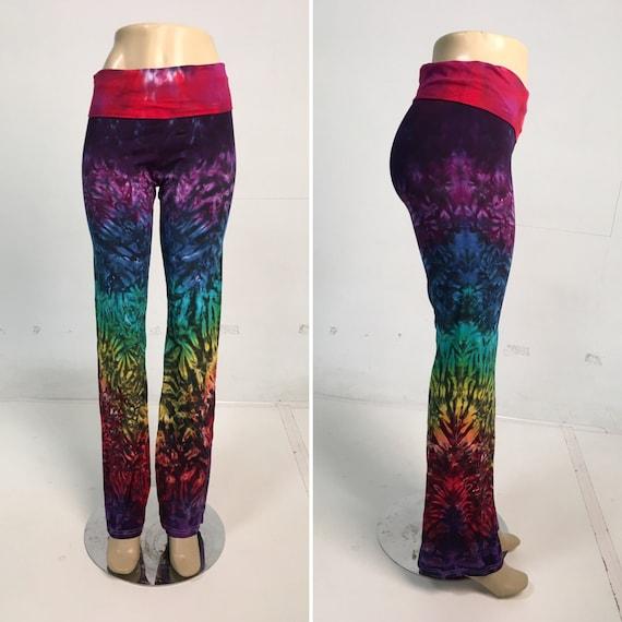 Rainbow Crinkle Yoga Pants Size Large
