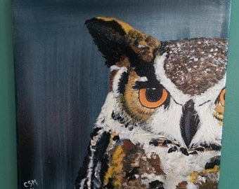 Baby Brown Owl - Acrylic Painting