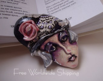 Handmade ooak brooch - Art deco hand painted pin - Flapper face brooch in Gatsby style - Free shipping item