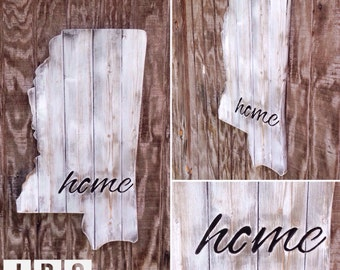 """27in Wood Planked Mississippi with """"Home"""" Cut-out"""
