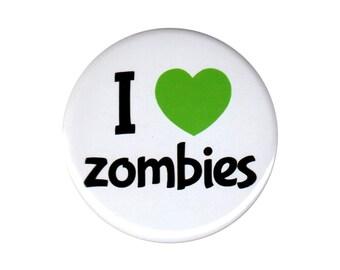 I Love Zombies Button Badge Pin I Heart Zombie Apocalypse