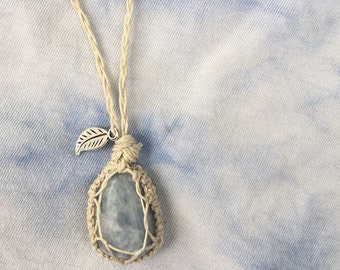 Blue Calcite Hemp Necklace