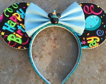 Pink or Blue Happy Birthday Minnie Ears!  Mickey Ears headband, celebration ears, celebrate mickey ears, birthday minnie ears, birthday