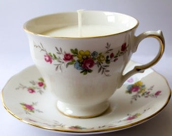unscented Soy wax teacup candle with saucer