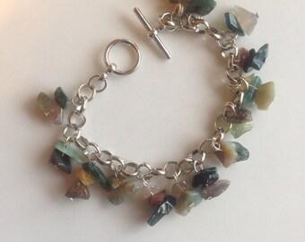 Handmade Gemstone Loaded Charm Bracelet With Silver Chain