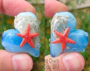 Sea Heart focal lampwork bead