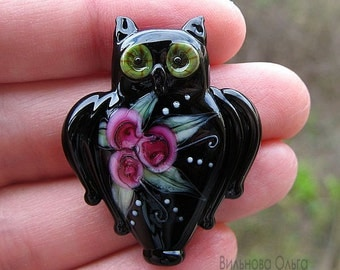 Owl with Roses lampwork bead