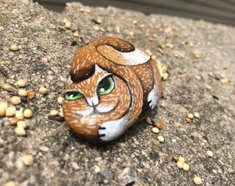 Beach cat_Original Hand painted Pebble