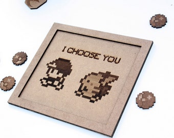 Pokemon engraved wood poster, pikachu wood art, Pokemon, nintendo art and collectibles, 8 bit wall art, etched decoración, I choose you