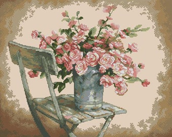 Roses On White Chair Cross Stitch Pattern