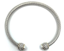 Cable Cuff Bracelet - Pearls and Rhinestones, 4mm