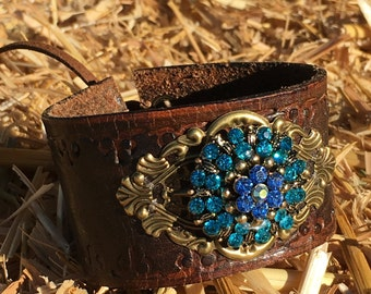 OOAK Upcycled Stamped Leather Cuff with a Blue Glass Brooch & Bronze Filligree.