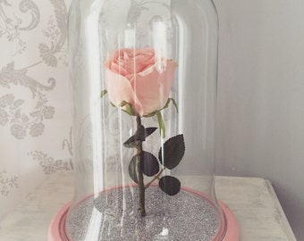 Upright Pink Rose Glittered Bell Jar Glass Dome with Wooden Base