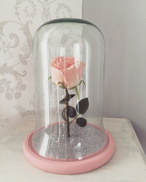 upright pink rose glittered bell jar glass dome with wooden. Black Bedroom Furniture Sets. Home Design Ideas