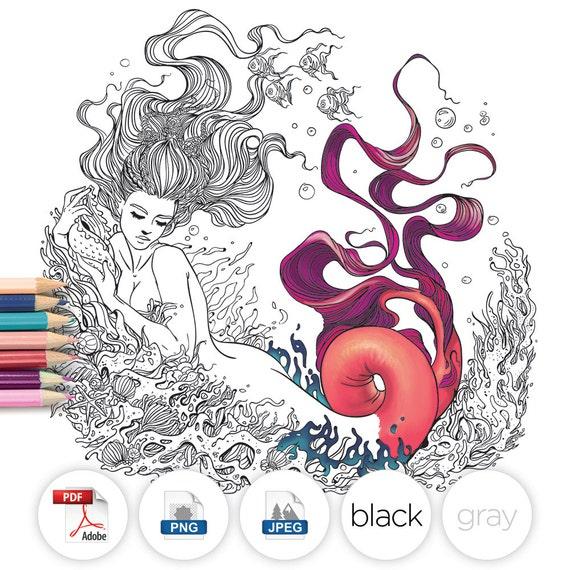 Adult Coloring Page Fantasy Mermaid Line Art
