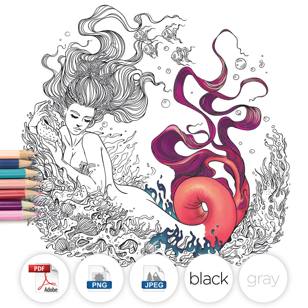 coloring page fantasy mermaid line art