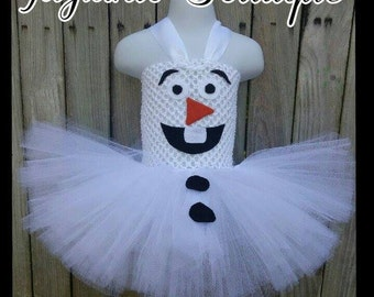 Frozen Inspired tutu dress, Frozen Snowman outfit, Olaf Inspired tutu dress, Snowman tutu dress, Christmas tutu dress