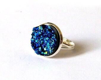 Ring effect druzy - Metallic blue-