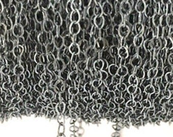925 Sterling Silver Chain Flat Wire Cable Chain Black Diamond Finish 1.60MM By Foot #407217BD