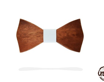 Wooden bows of niangon leather fashion accessories node ceremony