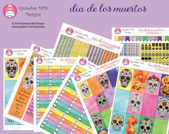 Dia de los muertos (Day of the Dead) super sticker set for Happy Planners, ECLP and most A5 Planners