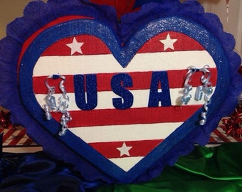 Patriotic heart pinata. Party Decorations and Supplies